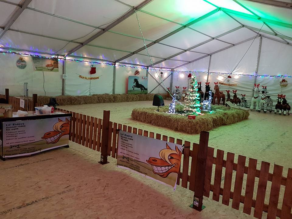 Images of fenced area for pony cycle riding